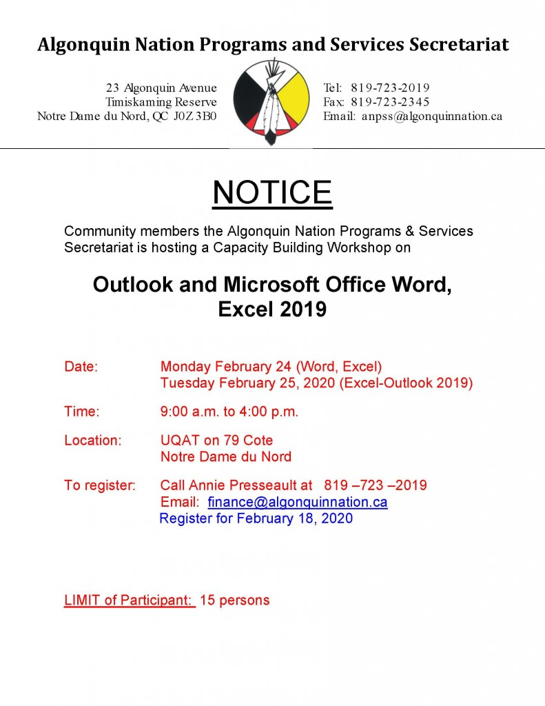 Outlook and Word and Excel-2019 Workshop